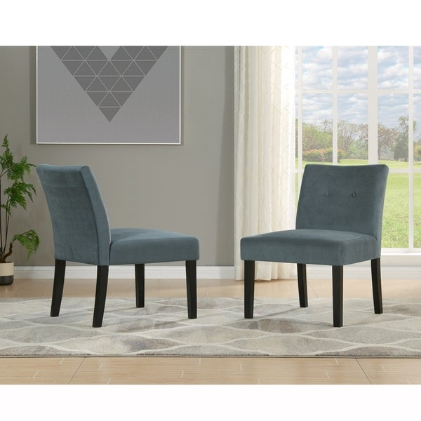 Shop Handy Living Nate Charcoal Velvet Armless Accent Chairs Set Of