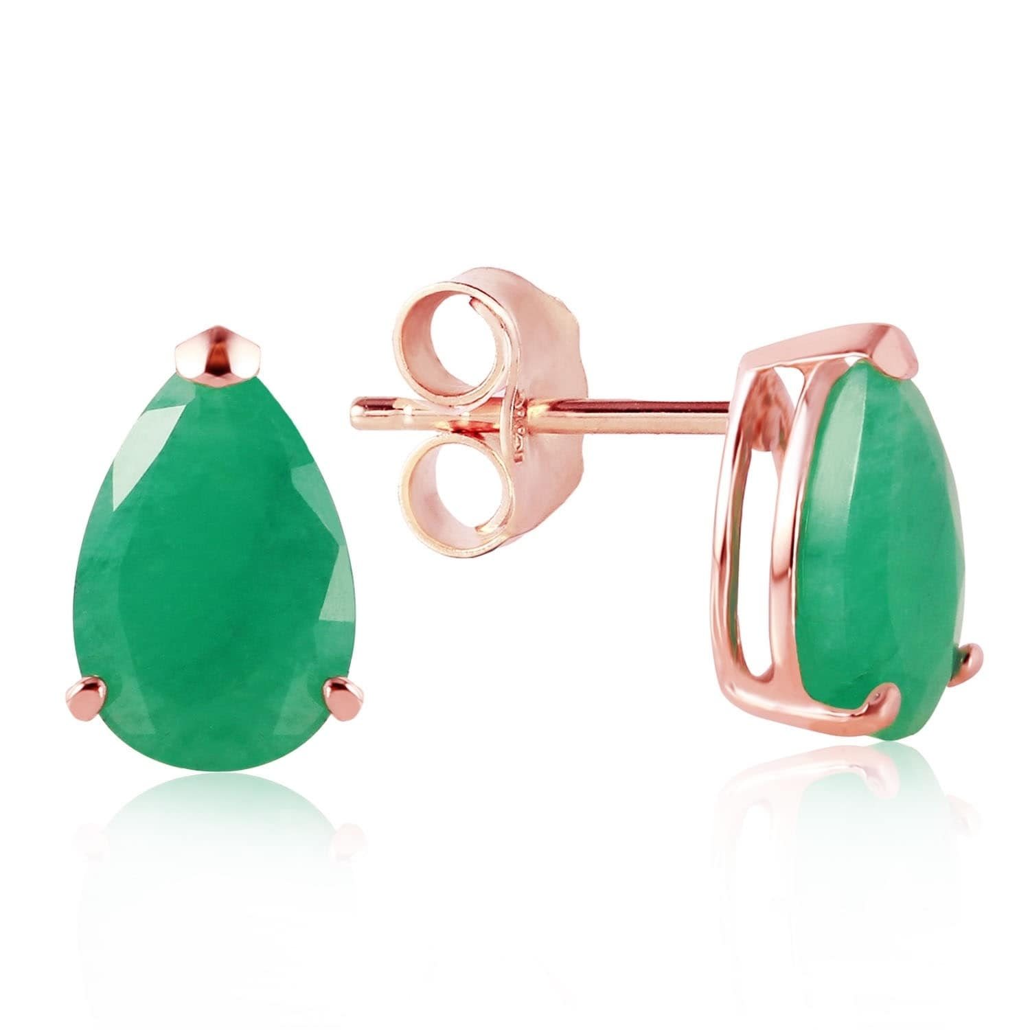 14K Solid Rose Gold Stud Earrings with Natural Emeralds