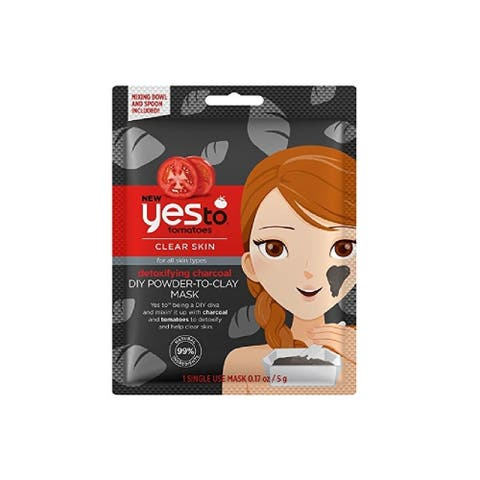 Yes to Tomatoes Clear Skin for All Skin Types Detoxifying Charcoal DIY Powder to Clay Mask, 1 Count