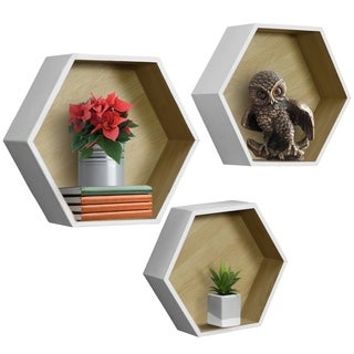 Sorbus Floating Shelf Hexagon Set - Honeycomb Wall Mounted Shelves