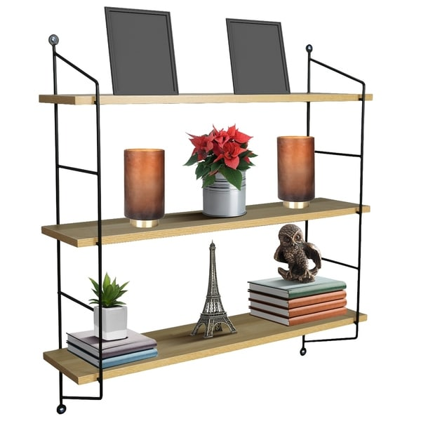 Sorbus Floating Shelf with Metal Brackets — Wall Mounted Rustic Wood Wall Storage