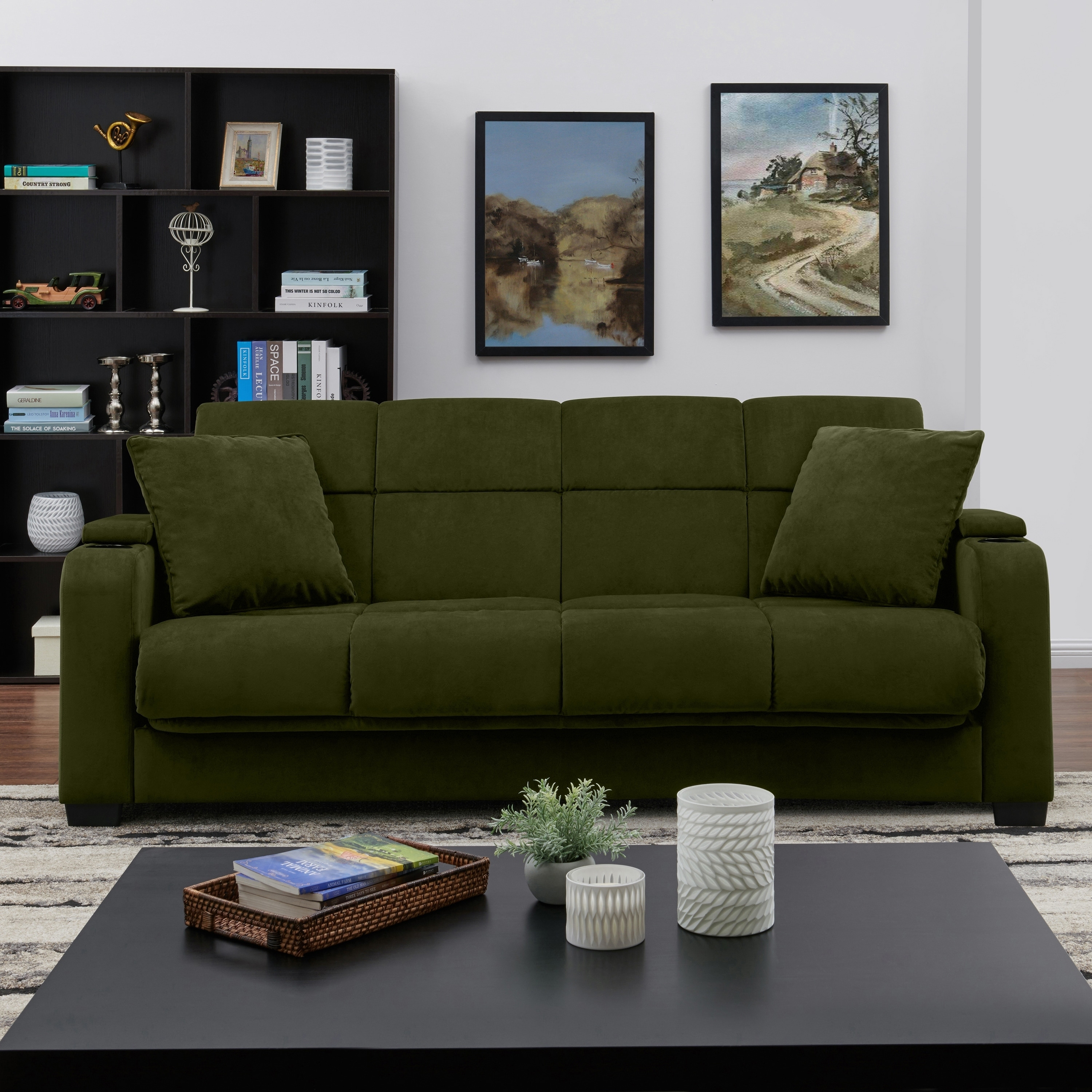 Living Room Sofa With Storage: Handy Living Sophia Storage Arm Convert-a-Couch Sleeper