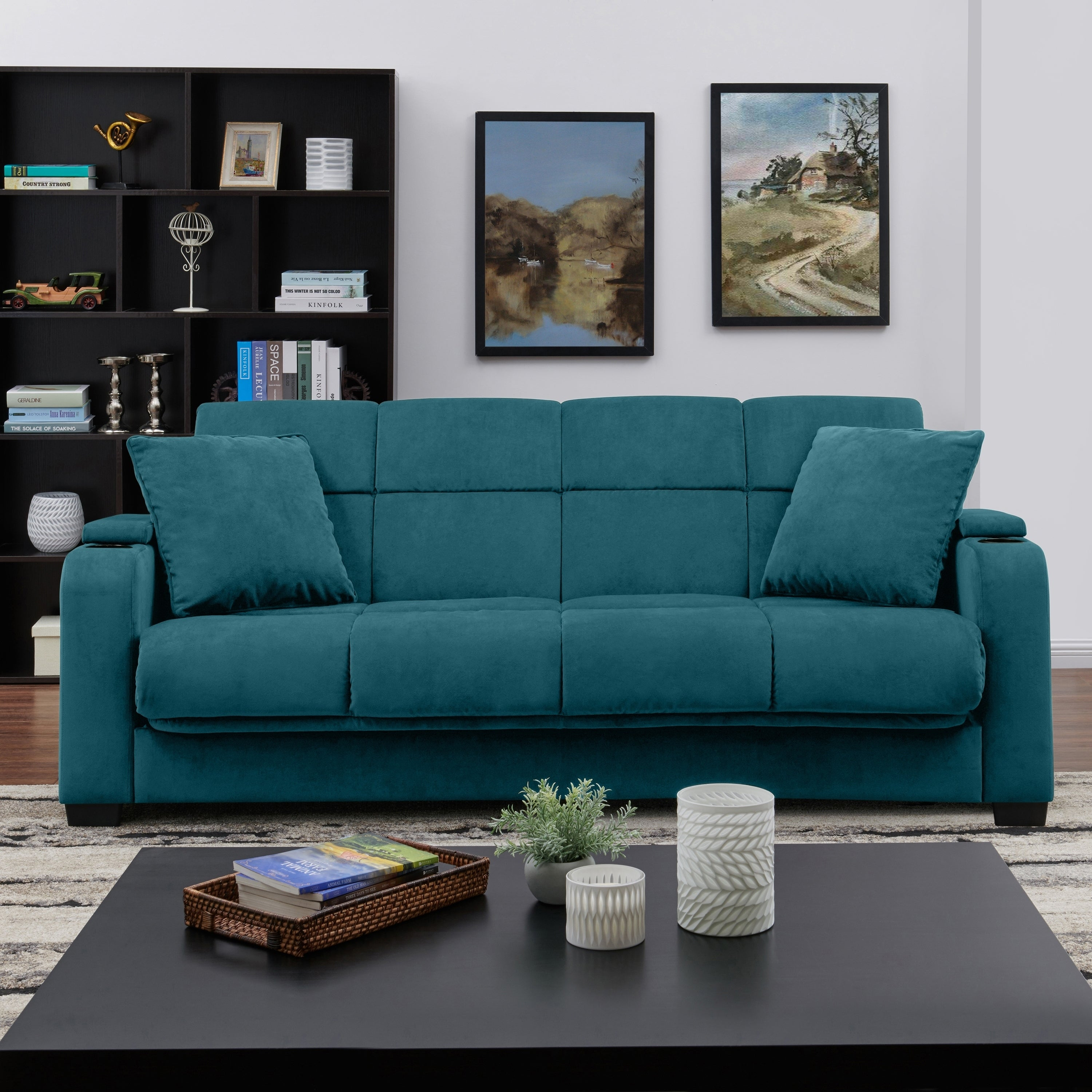 Handy Living Sophia Storage Arm Convert-a-Couch Sleeper Sofa