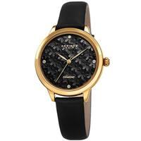 Akribos XXIV Women's Diamond Layered Floral Leather Strap Watch - Black