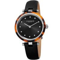 Akribos XXIV Women's Tortoise Crystal Dial Leather Strap Watch - Black