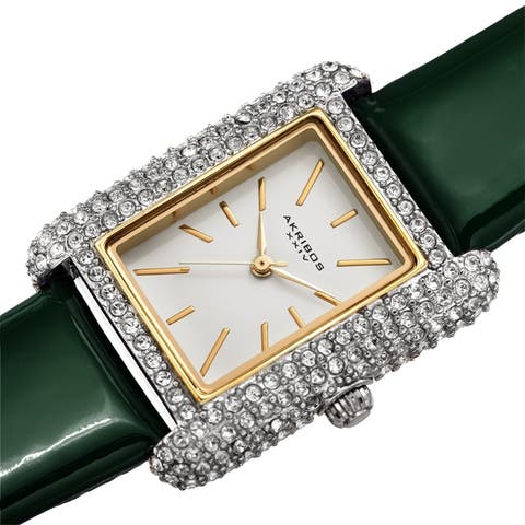 Akribos XXIV Women's Crystal Studded Rectangular Leather Strap Watch
