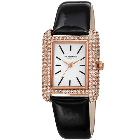 Akribos XXIV Women's Crystal Studded Rectangular Leather Strap Watch