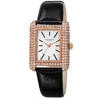 Akribos XXIV Women's Crystal Studded Rectangular Leather Strap Watch - Black