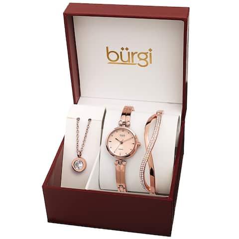 Burgi Women's Swarovski Pendant Strand Bracelet Leather Watch Fashion Box Set - Rose