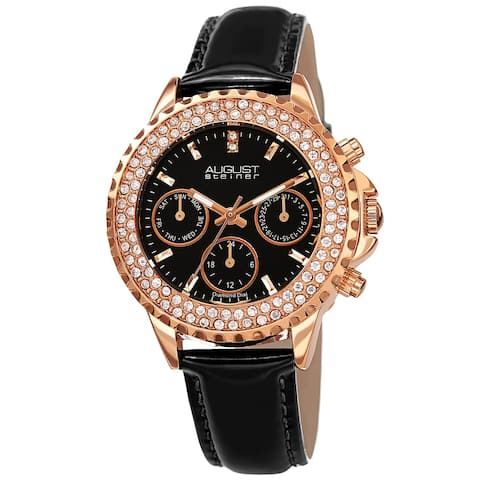 August Steiner Women's Date Diamond Crystal Leather Strap Watch - Black