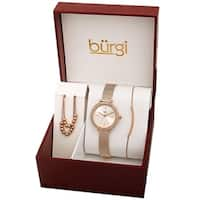 Burgi Women's Beaded Necklace Bar Bracelet Swarovski Mesh Watch Fashion Box Set - Rose