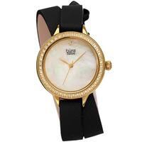 Burgi Women's Diamond Crystal Wrap-Around Leather Strap Watch - Black