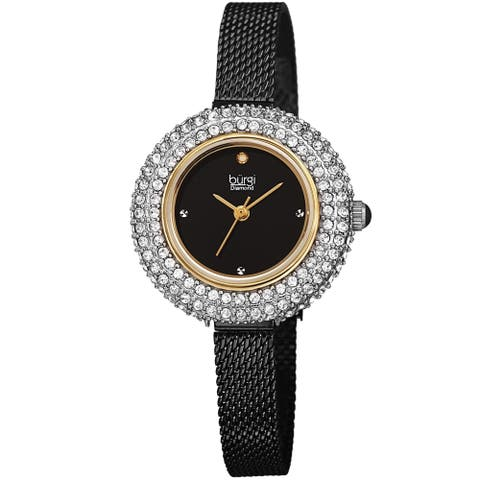 Burgi Women's Swarovski Crystal Diamond Mesh Breacelet Watch - Black/Gold