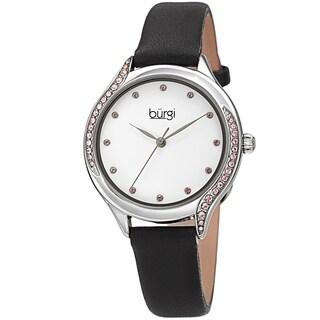 Burgi Women's Swarovski Crystal Ombre Style Leather Strap Watch - Black