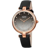 Burgi Women's Crystal Sparkling Glitter Dial Leather Strap Watch - Black