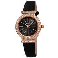Burgi Women's Rich Swarovski Crystal Leather Strap Watch - Black