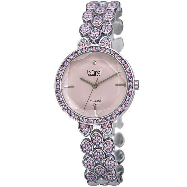 b05a85fe01e2e Shop Burgi Women's Diamond Dial Colored Swarovski Crystal Leaf ...