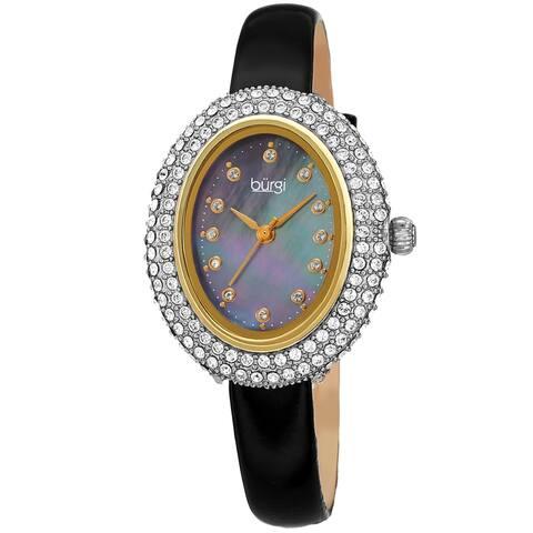 Burgi Women's Oval Swarovski Crystal Leather Strap Watch