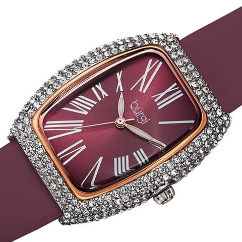 Burgi Women's Swarovski Crystal Tonneau Case Leather Strap Watch