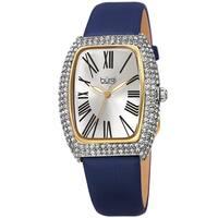 Burgi Women's Swarovski Crystal Tonneau Case Leather Strap Watch - Blue