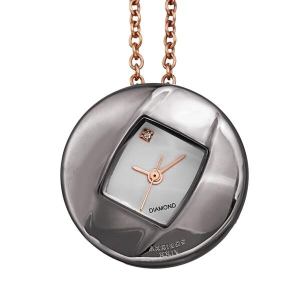 Akribos XXIV Women's Diamond Pendant Watch with Chain Necklace