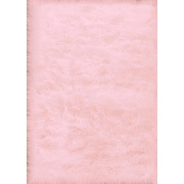 Shop Pink Faux Fur Throw Rug