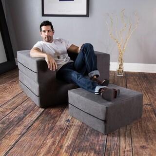 Jaxx Convertible Sleeper Arm Chair & Ottoman with Cotton Cover