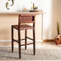 "Safavieh 30.32 -inch Paxton Woven Leather Barstool - Cognac - 18"" x 20"" x 38"""