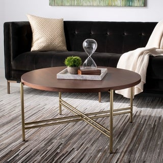 """Safavieh Couture Cassie Cocktail Table - Natural / Gold - 35.4"""" x 35.4"""" x 16.6"""""""