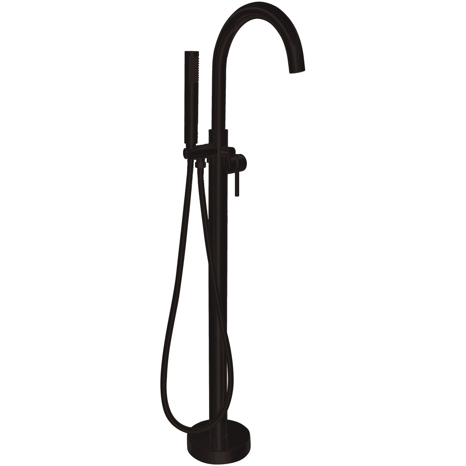 Anzzi Kros 2 Handle Freestanding Claw Foot Tub Faucet With Hand Shower In Matte Black