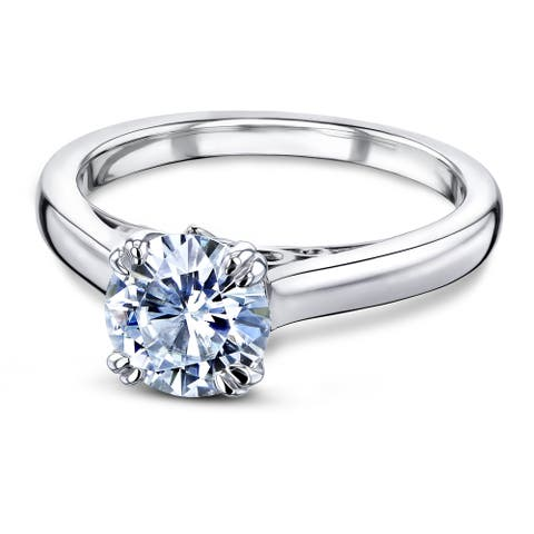 Annello by Kobelli 14k Gold 1 Carat Round Moissanite Solitaire Split-Prong W Head Engagement Ring