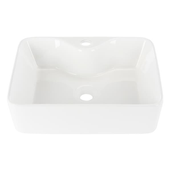 "Fen Porcelain Ceramic Vitreous Rectangular 19 Inch White Bathroom Vessel Sink - 18.9"" x 14.6"" x 5.1"""