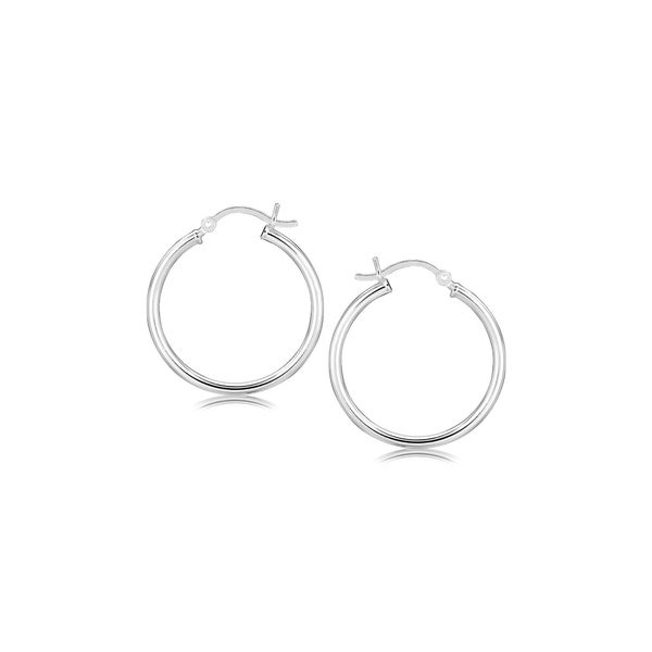 5650096b6 Shop Sterling Silver Rhodium Plated Thin and Polished Hoop Motif Earrings  (25mm) - On Sale - Free Shipping On Orders Over $45 - Overstock - 26517534