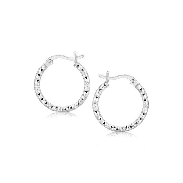 4f68f9d60 Shop Sterling Silver Faceted Design Hoop Earrings with Rhodium Plating - On  Sale - Free Shipping On Orders Over $45 - Overstock - 26517560