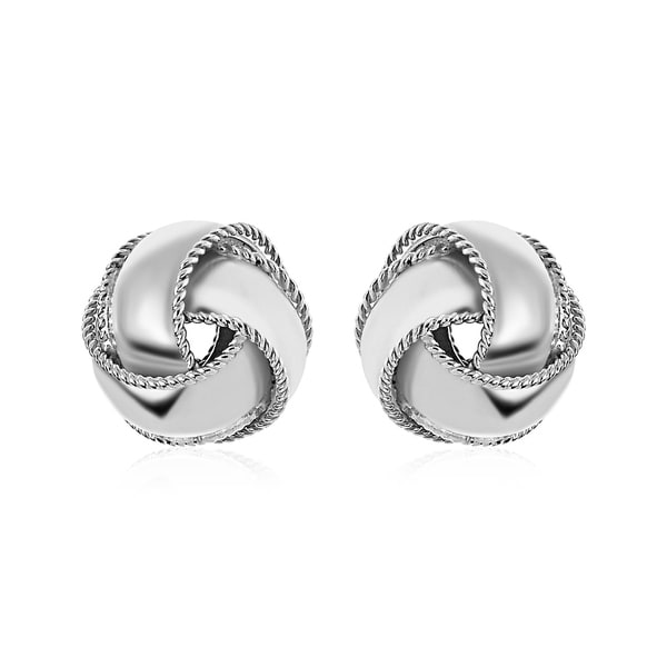 0915ca2dcc446 Textured and Polished Love Knot Earrings in Sterling Silver