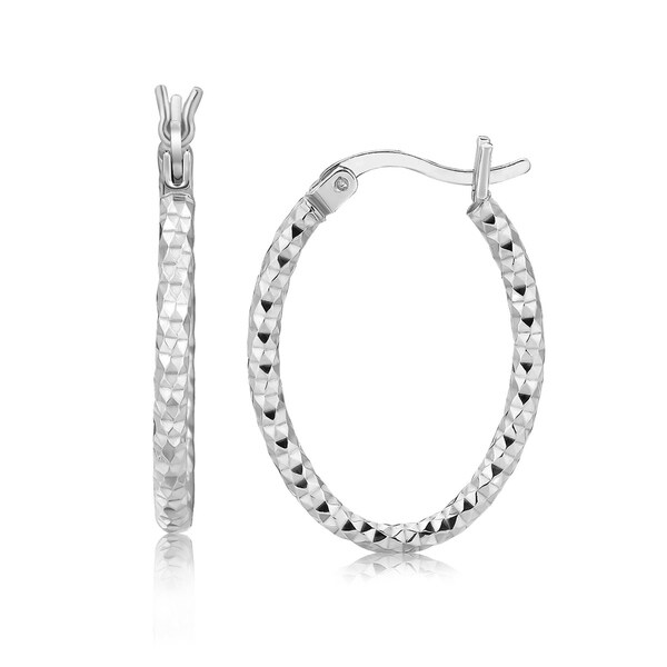 25acb8d2b Shop Sterling Silver Hoop Diamond Cut Texture Earrings with Rhodium Plating  - On Sale - Free Shipping On Orders Over $45 - Overstock - 26517573