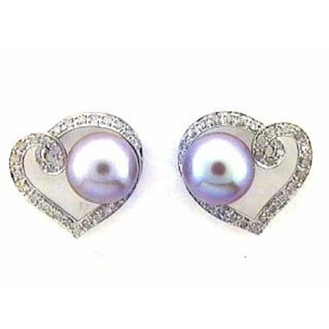 Diamond and Pink Freshwater Pearl Heart Earrings in White Gold by Pearl Lustre