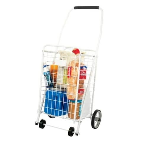 Apex 37 in. H White Collapsible Shopping Cart