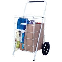 Apex  35-5/8 in. H White  Collapsible Shopping Cart