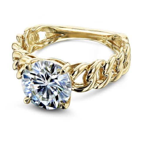 Annello by Kobelli 14k Yellow Gold 8mm Round Moissanite (1 9/10 Carat) Solitaire Chain Link Ring (GH/VS)