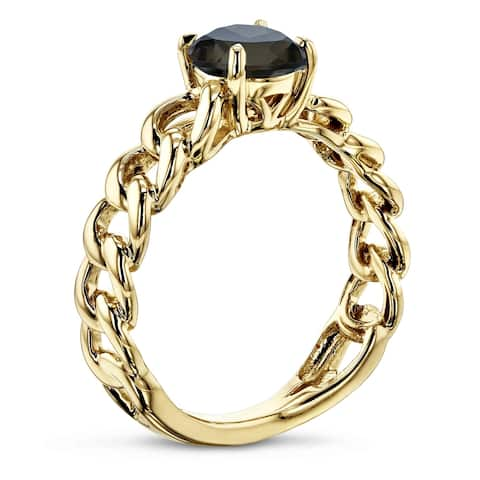 Annello by Kobelli 14k Yellow Gold Round Smoky Quartz Solitaire Chain Link Ring