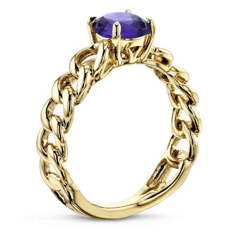 Annello by Kobelli 14k Yellow Gold Round Amethyst Solitaire Chain Link Ring