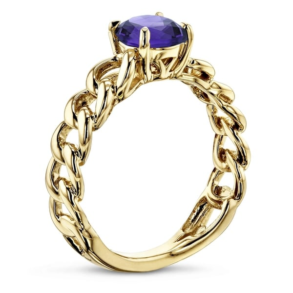 Annello by Kobelli 14k Yellow Gold Round Amethyst Solitaire Chain Link Ring. Opens flyout.