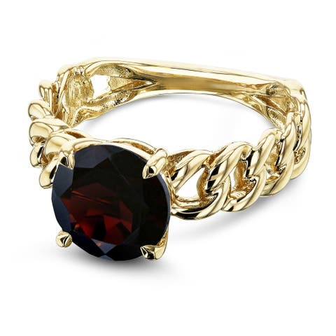 Annello by Kobelli 14k Yellow Gold Round Garnet Solitaire Chain Link Ring