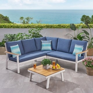 Sinclair Outdoor Aluminum Sofa Sectional Set with Cushions by Christopher Knight Home