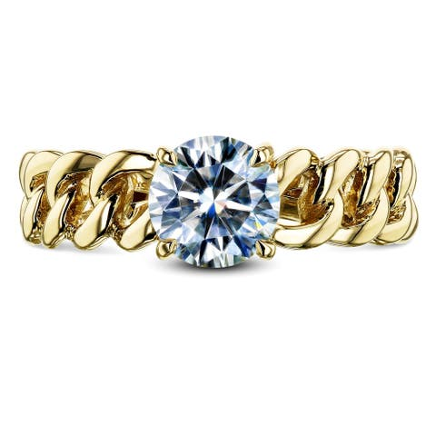 Annello by Kobelli 14k Yellow Gold 6mm Round Moissanite (4/5 Carat) Solitaire Chain Link Ring (GH/VS)
