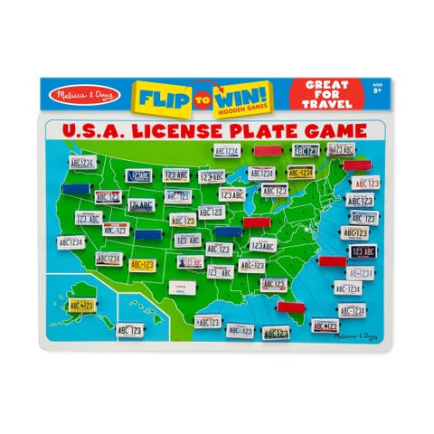 Flip to Win! Wooden Games - Travel U.S.A. License Plate Game
