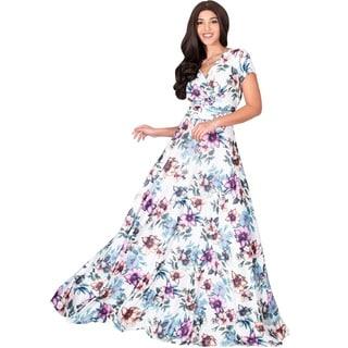 KOH KOH Womens Long Floral Printed Cap Sleeve Sexy V Neck Maxi Dress