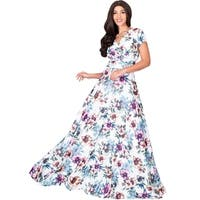 KOH KOH Womens Long Floral Printed Cap Sleeve Sexy V Neck Maxi Dress
