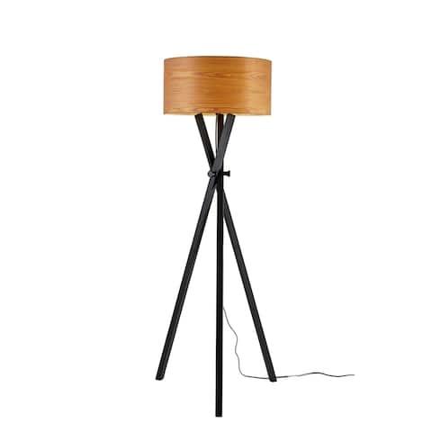 Strick & Bolton Hestina Black Wood Tripod Floor Lamp - 62-inch